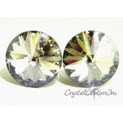 Silver Shade 15mm Rivoli Post Earrings made with SWAROVSKI ELEMENTS