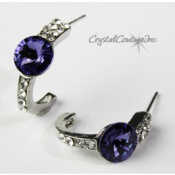 Tanzanite 8mm Rivoli Post Earrings with Rhinestone Half Hoop