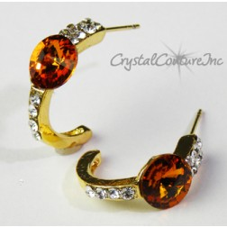 Topaz/Gold 8mm Rivoli Post Earrings with Rhinestone Half Hoop