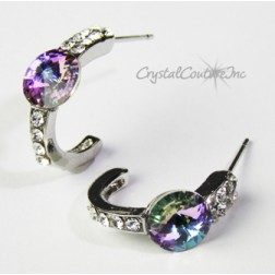 Vitrail Light 8mm Rivoli Post Earrings with Rhinestone Half Hoop