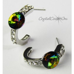 Vitrail Medium 8mm Rivoli Post Earrings with Rhinestone Half Hoop