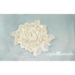 White Bead/Sequin & Pearl Lace Flower Applique