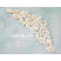 White Beaded/Sequin Scroll Applique