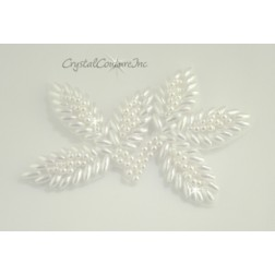 White Pearl Beaded Leaf Applique