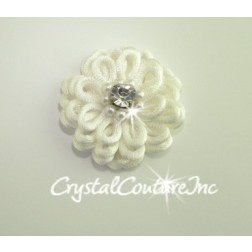 White Corded Flower with Crystal Rhinestone