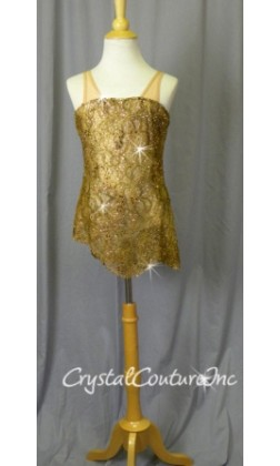 Brown Lace Overlay with Ivory Leotard - Swarovski Rhinestones - Size YM