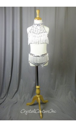 Shimmery White Halter Top and Trunk with Fringe - Crystal Rhinestones