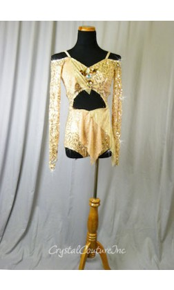 Nude Sequin Floral Lace Bike-a-Tard with Half Skirt - Swarovski Rhinestones - Size AS