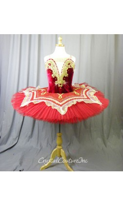 Burgundy Velour Bodice Tutu with Gold & White Lace Trim - Size YL
