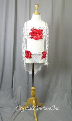 White Floral Lace Bra-Top and Trunk/Skirt with Red Accents - Swarovski Rhinestones - Size YM