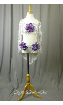 White Floral Lace Bra-Top and Trunk/Skirt with Purple Accents - Swarovski Rhinestones - Size YL
