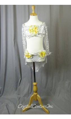 White Floral Lace Bra-Top and Trunk/Skirt with Yellow Accents - Swarovski Rhinestones - Size YM
