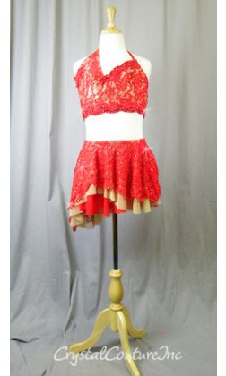 Red Floral Lace Halter Top and Asymmetrical Skirt/Trunk - Swarovski Rhinestones