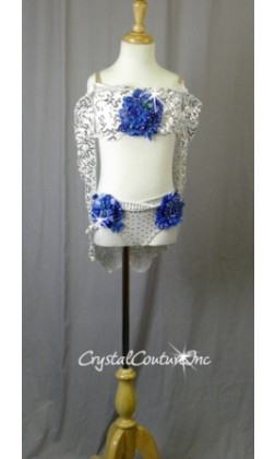 White Floral Lace Bra-Top and Trunk/Skirt with Blue Accents - Swarovski Rhinestones - Size YM