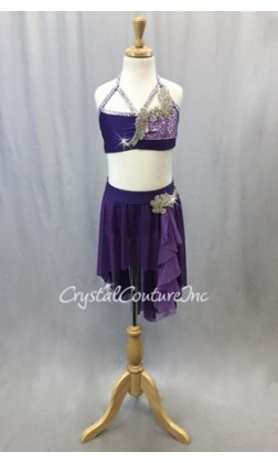 Purple Bra-Top and Skirt/Trunk with Appliques - Swarovski Rhinestones - Size YL