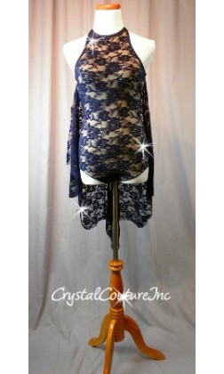 Navy Blue/Nude Floral Lace Leotard with Attached Skirt - Swarovski Rhinestones - Size AM