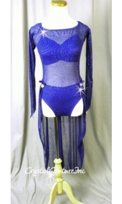 Royal Blue Sheer Leotard with Long Sleeves and Draped Skirt - Swarovski Rhinestones