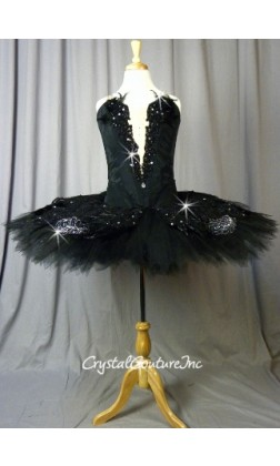 Black Custom Made Tutu with Appliques & Genuine Feathers - Swarovski Rhinestones