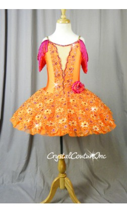 Orange Platter Tutu with Emroidered Details & Hot Pink Accents - Swarovski Rhinestones