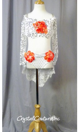 White Floral Lace Bra-Top and Trunk/Skirt with Orange Accents - Swarovski Rhinestones - Size YM
