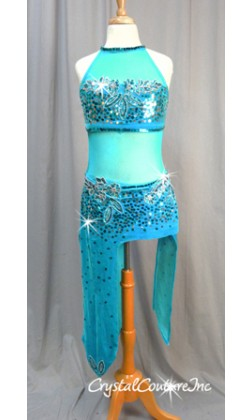Teal Blue Velour & Sheer Mesh Dress with Beaded Appliques - Size AXS