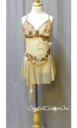 Nude Connected Bra-Top & Skirt with Bronze Accents - Swarovski Rhinestones - Size YM