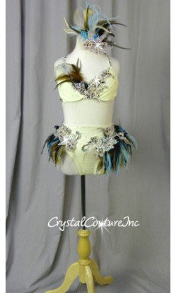 Ivory, Blue & Brown Feathered Bra-Top & Briefs - Swarovski Rhinestones - Size YM