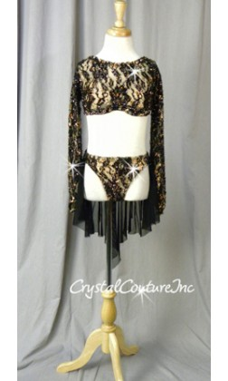 Black Lace Long-Sleeved Cropped Top & Brief with Attached Skirt - Swarovski Rhinestones - Size YM