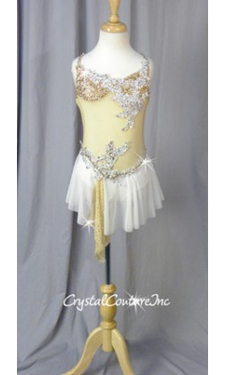 Nude & White Sheer Mesh Dress with Appliques - Swarovski Rhinestones