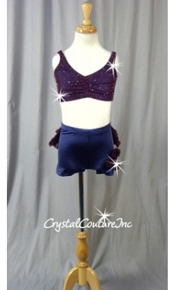 Purple Bra-Top & Booty Shorts with Plum Floral Sheer Mesh -  Swarovski Rhinestones - Size YM