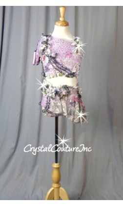Lavender & Multicolored, One sleeved Crop Top & Booty Shorts with Attached Asymmetrical Skirt - Swarovski Rhinestones