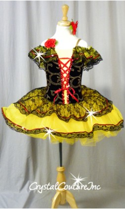 Spanish Inspired Black and Yellow Tutu with Red Accents - Swarovski Rhinestones - Size YM
