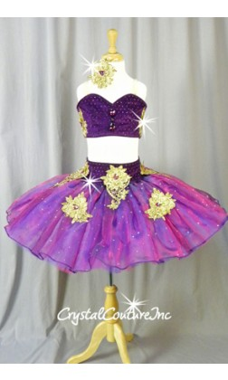 Bright Purple and Gold Platter Two-Piece Tutu - Swarovski Rhinestones