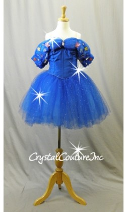 Royal Blue Woven Corset and Soft Romantic Tutu - Swarovski Rhinestones