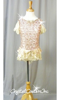 Vintage Lt Pink, Gold and Ivory Sequin Dress/Trunk - Swarovski Rhinestones - Size YM