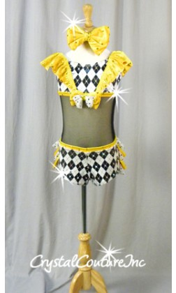 Black & White Connected 2 pc with Yellow Accents - Swarovski Rhinestones