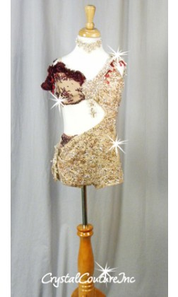 Nude and Burgundy Connected Bra-Top and Bootie Shorts - Swarovski Rhinestones