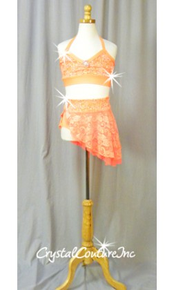 Orange Floral Lace Halter Top and Skirt/Booty Short - Swarovski Rhinestones - Size AXS