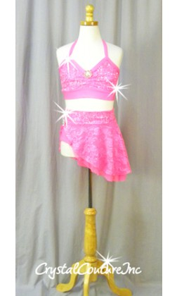 Hot Pink Floral Lace Halter Top and Skirt/Booty Short - Swarovski Rhinestones - Size YS