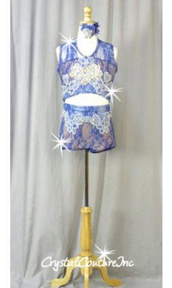 Blue and Lt Blue Floral Lace Connected 2 pc with Embroidered Appliques - Swarovski Rhinestones