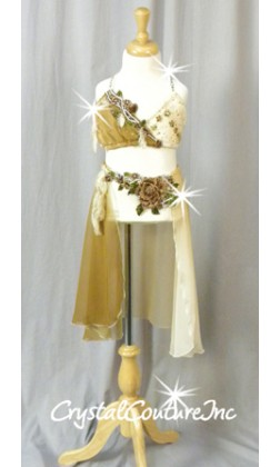 Ivory and Nude 2pc Top and Trunk/Skirt with Appliques - Swarovski Rhinestones - Size YS