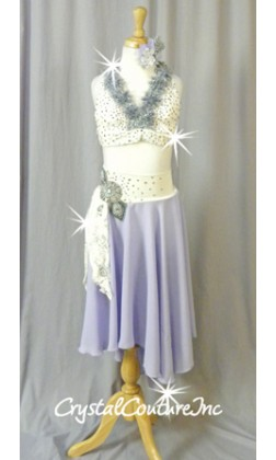 Ivory/Periwinkle/Gray Bra Top & Asymmetrical Skirt with Attached Booty Shorts - Swarovski Rhinestones