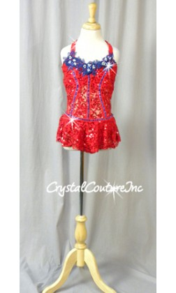 Red Floral Sequin Lace Leotard/Skirt with Blue Accents - Swarovski Rhinestones