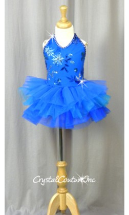 Royal and Teal Blue Tutu with Embroidered/Sequin Bodice - Rhinestones - Size YS
