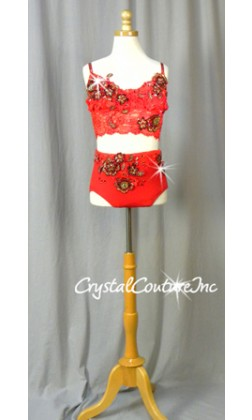 Red Lace Crop Top and Trunks with Appliques - Swarovski Rhinestones
