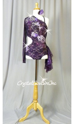 Dark Purple Floral Lace Cut-Out Leotard with Sleeve and Side Skirt - Swarovski Rhinestones - Size AXS
