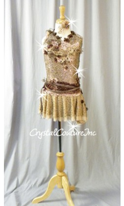 Lt Brown Floral Lace Leotard with Asymmetrical Skirt - Swarovski Rhinestones - Size YM