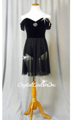 Black Velour and Sheer Mesh Dress - Swarovski Rhinestones