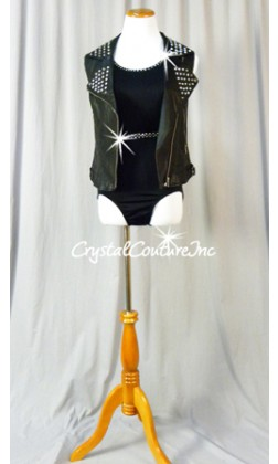 Black Leotard with pleather Vest - Swarovski Rhinestones