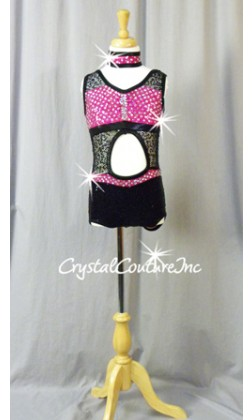 Hot Pink/Black Cut Out Leo - Swarovski Rhinestones - Size YM